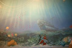 Pittura su muro.Autore M Sambur O Suprunovskij.Un ristorante a Mosca