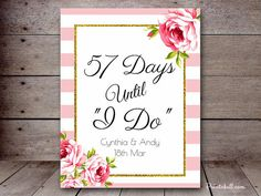 DIY Stripes Gold Bridal Shower Sign Days until by MagicalPrintable