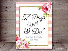 DIY Stripes Gold Bridal Shower Sign Days until by MagicalPrintable