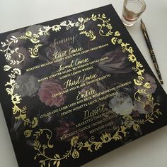 oversized menu: gold foil stamped, duplexed with gold edge painting, calligraphed names - papermade design