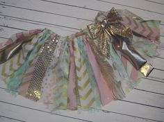 SALE Mint Pink and Gold Rag Tie Banner Ready To Ship