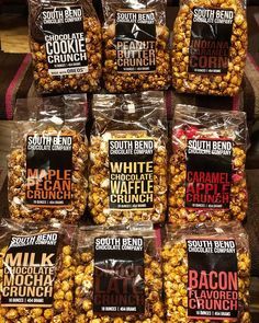 """Sweet Expressions on Instagram: """"Popcorn isn't just covered in butter anymore...check out our South Bend selection of gourmet popcorn…"""" Caramel Crunch, Caramel Pecan, Flavored Popcorn, Gourmet Popcorn, Chocolate Company, South Bend, Waffles, Butter, Apple"""