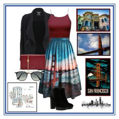 """""""I'm A City Girl: San Francisco"""" by audrey516 ❤ liked on Polyvore featuring Majestic Filatures, Chicwish, Hogan, Marc Jacobs, Ray-Ban and Pottery Barn"""