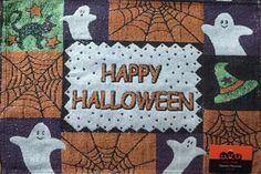 NWT Set Of 2 Halloween Harvest Ghost Fabric Cloth Tapestry Table Placemats