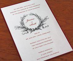 Vintage wreath inspired wedding invitation with customized monogram for a winter wedding.  | Invitations by Ajalon | invitationsbyajalon.com