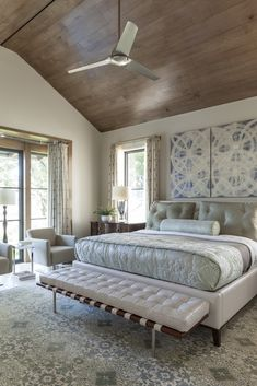 The lofty pitch of the master bedroom's ceiling is warmed by dark-stain tongue-and-groove wood planks. - Elegant Homes ® / Photo: Nathan Schroder / Design: Leslie Pemberton Bedroom Decor On A Budget, Home Decor Bedroom, Bedroom Ideas, Elegant Home Decor, Elegant Homes, Bedroom Sitting Room, Sitting Rooms, Tongue And Groove Ceiling, A Frame House