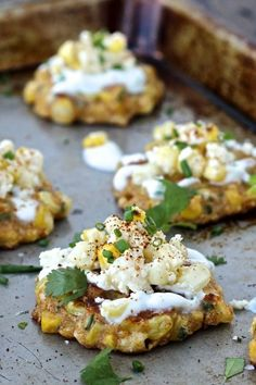 Street Corn Fritters Mexican Street Corn Fritters - I just topped with regular sour cream instead of the sauce they used.Mexican Street Corn Fritters - I just topped with regular sour cream instead of the sauce they used. Mexican Dishes, Mexican Food Recipes, Vegetarian Recipes, Cooking Recipes, Healthy Recipes, Rib Recipes, Steak Recipes, Chicken Recipes, Baked Chicken