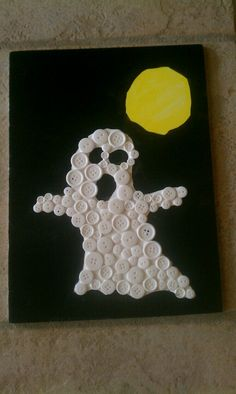 Button Ghost created by Mia (7)! Easy craft for kids.