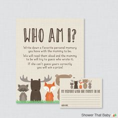 Woodland Baby Shower Who Am I Game Printable Memory of the