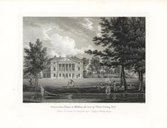 Gunnersbury House in Middlesex, the Seat of Walter Stirling from Etchings of Castles & Stately Homes of Great Britain & Wales. W. Angus Seats of Nobility & Gentry Prints 1787. #homes #castles #mansions #English #prints #engravings