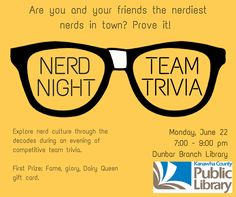 NERD NIGHT Team Trivia, teen or adult library program at the Dunbar Branch of Kanawha County Public Library