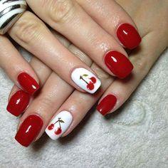 cirese Spring Nail Colors, Spring Nail Art, Flower Nail Designs, Cute Nail Designs, Yellow Nails, Red Nails, Cute Nails, Pretty Nails, Cherry Nail Art