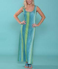 Look at this #zulilyfind! Blue & Green Stripe Maxi Dress by Lbisse #zulilyfinds