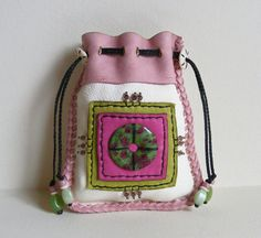 LOVE ABOUNDS deerskin leather Medicine Bag, Spirit Pouch with RUBY in Fuchsite, Swarovski crystals Beaded Purses, Beaded Bags, Leather Pouch, Leather Purses, Leather Bag Pattern, Medicine Bag, Best Purses, Boho Bags, Craft Bags