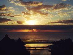 Sunrise in Cancun over the Caribbean and the Westin Lagunamar pool.