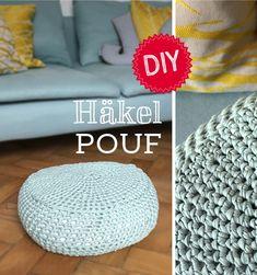 DIY Hä Crochet Pouf, Diy Crochet, Ottoman Inspiration, Diy Pouf, Diy Furniture Decor, Diy Ottoman, Yarn Stash, Pinterest Diy, Diy Home Crafts