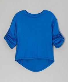 Look at this #zulilyfind! Royal Blue Three-Quarter Sleeve Tee - Girls #zulilyfinds 15.00