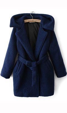 Hooded waistband coat dark blue,wow amazing