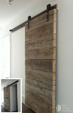 Custom plank door made from salvaged, job site planks.