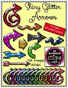 Shiny Glitter Arrows $ http://www.teacherspayteachers.com/Product/Shiny-Glitter-Arrows-1625774