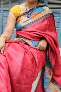Coral Red  Hand Painted and Ari work Tussar Silk Saree