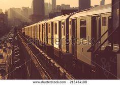 Subway Train in New York at Sunset LIC