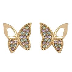 CHIC Crystal Butterfly Stud Clip On Earrings