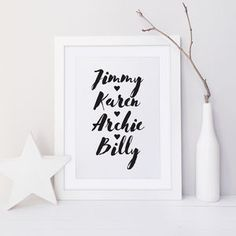 I've just found Family Names Print. A typographic family names print with hearts or stars on the design. Choose from a range of colours. Family Poster, Family Print, Family Gifts, Family Names, Personalized Gifts For Grandparents, Personalised Posters, Typography Prints, Gallery Wall, Framed Prints