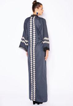 Shop Hayas closet grey Embroidered Paneled Lace Trim Abaya for Women in UAE