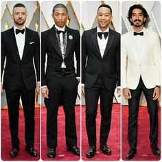 Best Dressed Men At The Oscars 2017#JustinTimberlake in #Tomford#pharellwilliams in #Chanel#JohnLegend in #Gucci#DevPatel in #Burberry#MahershalaAli  in #Zegna#ChrisEvans in #SalvatoreFerragamo#AndrewGarfield in Tom Ford#RyanGosling in Gucci#fashion #style #celebrity #oscars2017 #suit #jewelry #mensfashion #suitandtie #golden  #couture #fashionweek #hair #makeup... - Celebrity Fashion