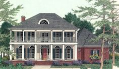 Front and rear covered balconies grace this 4 bedroom Southern home.  House Plan # 311083.