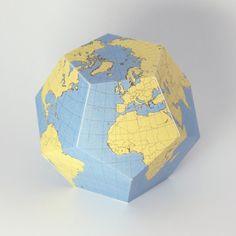 http://culturacientifica.com/app/uploads/2015/05/imagen-6.jpg Mapa sobre un dodecaedro, con la proyección gnomónica o central, sin desplegar sobre el plano, de la página de Carlos Furuti