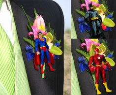 DIY Superhero Boutonniere. #Groom #Wedding Don't know why I pinned this but I mean... Come on now!!! SUPERHERO BOUTONNIERES!! XD