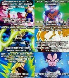 Vegeta admitting Goku is better