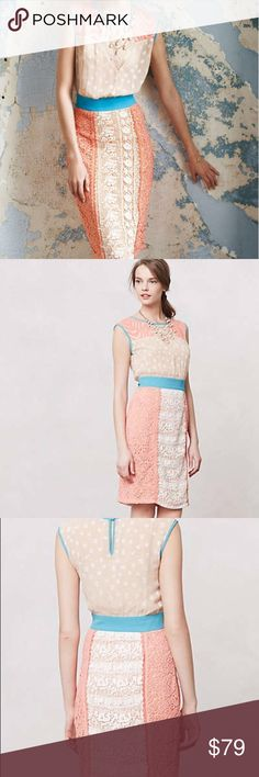 Anthropologie Multi-Textired Ephemere Dress champagne & strawberries // sleeveless multi colored dress // side zipper // 19 inches across chest flat // 41 inches shoulder to hem // 15 inches across waist flat // tan, cream, turquoise, and peach // last photo from blog Birdalamonde Anthropologie Dresses