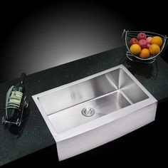 Shop for Water Creation 36-inch X 22-inch 15 mm Corner Radius Single Bowl Stainless Steel Hand Made Apron Front Kitchen Sink. Get free shipping at Overstock.com - Your Online Home Improvement Outlet Store! Get 5% in rewards with Club O! - 15893589