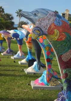 Five of the 50 individually decorated dolphins at Pier 60 Park, #ClearwaterBeach; on exhibit until 9/04/12.  A must see!
