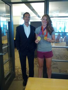 Rower, Caroline Lind, stopped by home office to say 'hi' and show off her new accessories! Here she is with Shaklee CMO, BradHarrington.