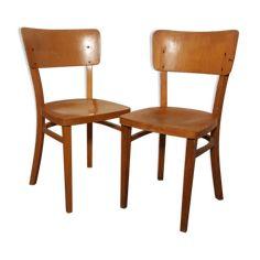 Paire de chaises de bistrot, hêtre, annèes 40 ,ht assise 46 - bois (Matériau) - bois (Couleur) - bon état - vintage