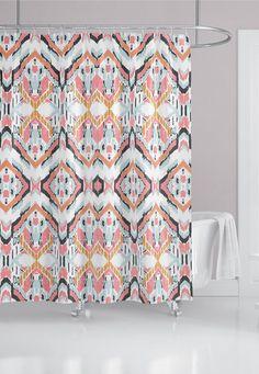Navy Blue Pink Ikat Fabric Shower Curtain Custom Bath Curtain