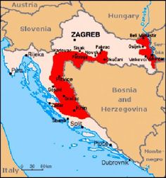 Croatia towns and administrative map of croatia with roads croatia serbian war publicscrutiny Choice Image