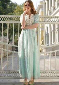 Sky Blue Patchwork Embroidery Chiffon Maxi Dress