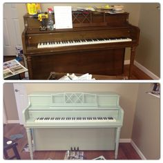 DIY painted piano in mint green. Before & After. I periodically fantasize about doing this to mine...