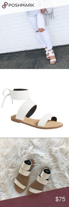 NWT • Rebecca Minkoff • Emma Ankle Cuff Sandals - Rebecca Minkoff  - Emma Ankle Cuff Sandals - White - Size 10  - New without Box Rebecca Minkoff Shoes Sandals
