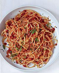 Spaghetti with Sun-Dried-Tomato-Almond Pesto // More Vegetarian Pastas: http://www.foodandwine.com/slideshows/vegetarian-pasta #foodandwine