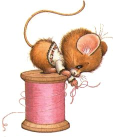 Ruth Morehead Mouse on Pink Spool of Thread Illustration Mignonne, Cute Illustration, Animal Drawings, Cute Drawings, Sewing Clipart, Baby Animals, Cute Animals, Art Mignon, Mouse Pictures