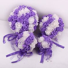 Autohome 5 Pack 9.8 Inch Artificial Flower Ball Bridal Shower Party Room Decor-Purple White with Ribbon -- Awesome products selected by Anna Churchill