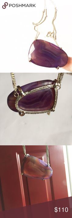 {Kendra Scott} Vintage Purple Agate Maude Necklace ❃ good vintage condition ❃ 14k gold played filigree ❃ 100% authentic   ✖️trades  ✔️offers  ✔️bundles  Make a statement in the Maude pendant, a delightfully rare purple agate necklace. A veined and vintage Harlow shaped stone on a strong double chain, this super-striated piece is sure to be your new summer favorite! Some slight wear to the stone, as shone. Hardware slightly oxidized. Kendra Scott Jewelry Necklaces