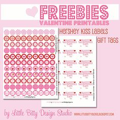 Valentine Printable - cute little ones for the bottom of Hershey Kisses, with gift tags!