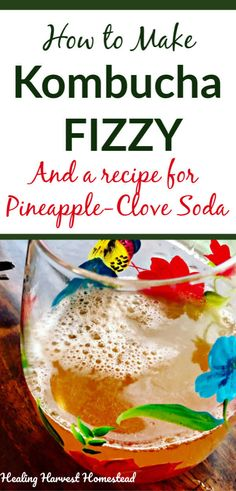 How to Make Kombucha Fizzy (the Second Ferment): Plus a Kombucha Recipe for Delicious Pineapple & Clove Kombucha — Home Healing Harvest Homestead How To Make Scoby, How To Make Mead, Healthy Soda, Healthy Drinks, Healthy Recipes, Drink Recipes, Healthy Eating, Herbal Remedies, Natural Remedies